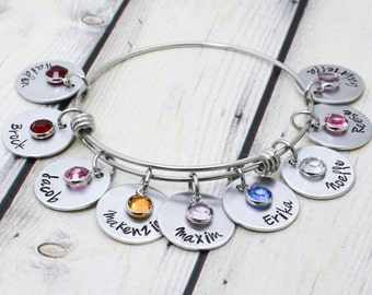 Hand Stamped Grandmother Bracelet - Personalized Grandmother Jewelry - Grandma Bracelet - Kids Name Bangle - Personalized Bracelet for Women