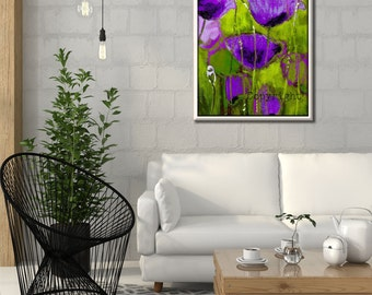 Flower Canvas Art, Canvas Print, Landscape Art, Purple Home Decor, Green Wall Decor, Green Abstract Art, Poppy, Vertical Art,