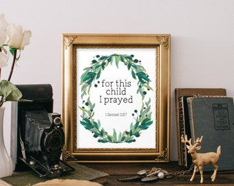 For this child I prayed, Baptism gift boy, Nursery print, Baptism gift for boy, Christening gift, Confirmation gift, New baby gift, BD-674