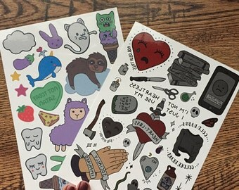 Sweet & Salty Temporary Tattoos // 5x7 sheets // Hand Drawn Illustrations
