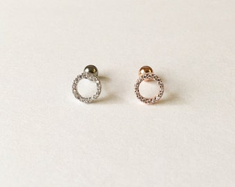 Sparkly Circle Cartilage,Tragus,Conch,Ear Piercing 16 Gauge (EPC-120),Surgical Steel,Single Earring,Sold by Piece, Silver, Rose Gold