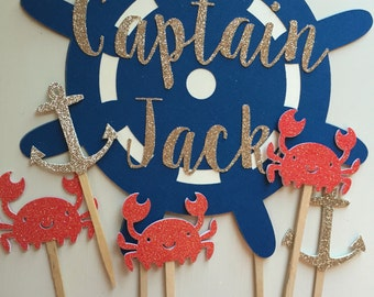 Personalized Captain's Wheel Nautical Birthday Cake Topper