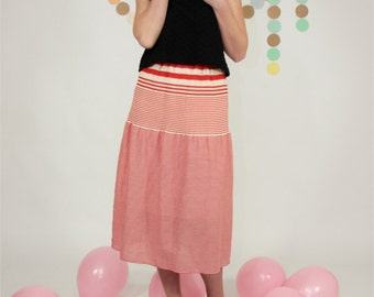 ankle length skirt red and white striped cotton with elastic on waist