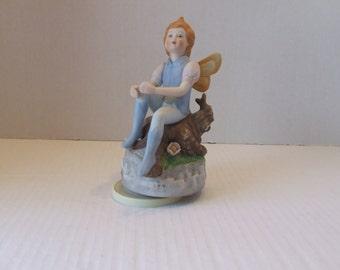 Porcelain Fairy Figurine Music Box, Fairy Music Box, Vintage Fairy Music Box, Rotating Peter Pan Style Music Box, Rotating Music Box by Mann