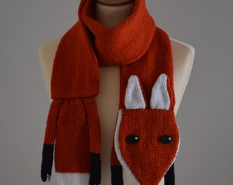 Knit Fox Scarf Kids and Adult Size Animal Scarf