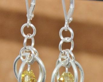 Swarovski Crystal Earrings, Silver Plated Earrings, Light Topaz Swarovski, Sputnik Chainmaille, Chain mail Jewellery, Silver Earrings