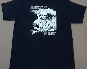 Marine tshirt Iwo Jima WWII 70th Anniversary Memorial Day gift black 100% cotton Gildan short sleeve graphic tee