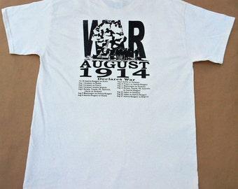 World War 1 tshirt 1914 history ivory 100% cotton Gildan short sleeve graphic tee