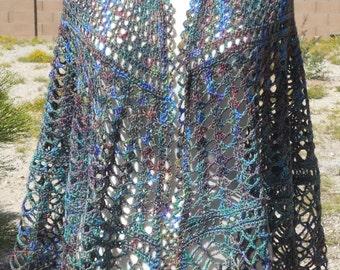 Purple, Green and Blue Variegated Wool Half-Circle Crocheted Shawl