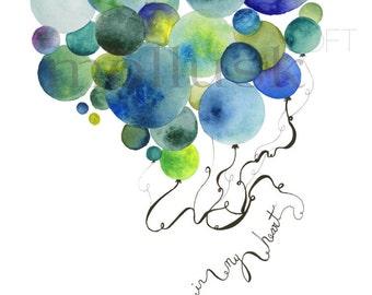 Watercolor Balloons Print