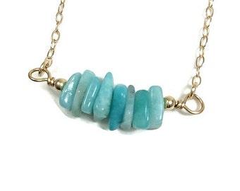 Amazonite Necklace- Aqua Blue Crystal Chip Bead Necklace- Sterling Silver Crystal Bar Necklace- Amazonite Jewelry- Blue Stone Bar Necklace