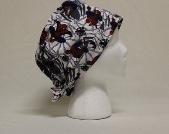 Spiderman Web FLANNEL Surgical Scrub Cap Dental Chemo Hat