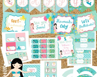 Instant Download Mermaid Party Printables Package, Mermaid Birthday Party, Beach Party, Mermaid Party, Mermaid Party Decorations