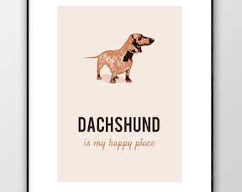 Dachshund Print, Dachshund Wall Art, Dachshund Poster, Dachshund Lovers Gift, Dachshund Decor, Dog Print, Dog Poster, Digital Print