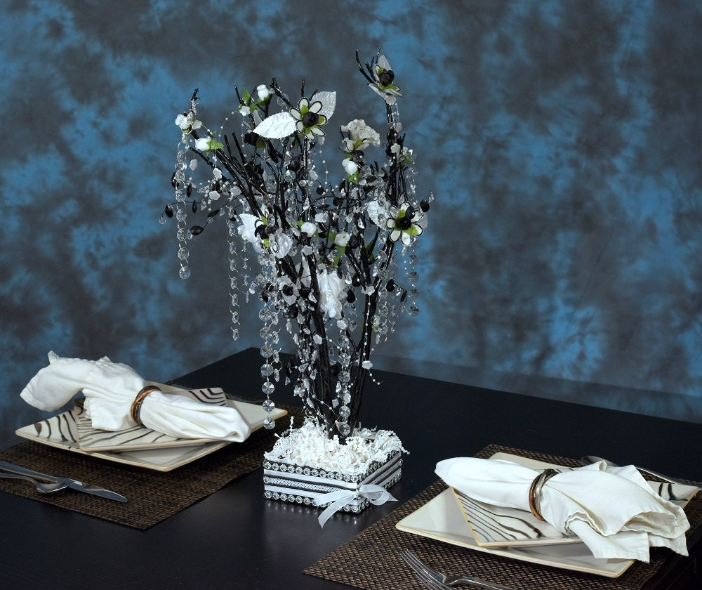 Inches black and white manzanita tree wedding centerpiece