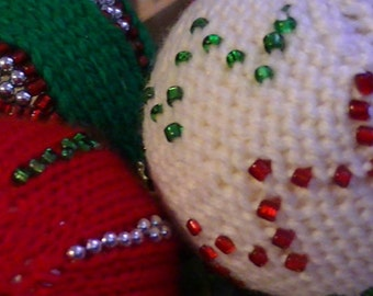 Vintage holiday ornaments covered yarn crochet ball tree Ornaments 1960s collectibles festive holiday decor christmas balls 3 in set vintage