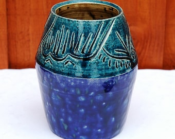 Blue Engraved Vase