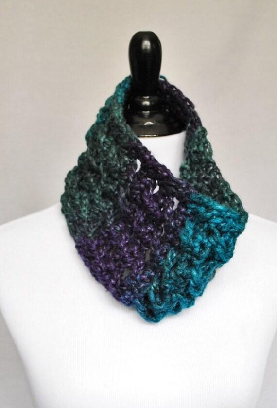 Teal, Green, Purple Crochet Cowl, Lacy Neck Warmer, Short Infinity Scarf