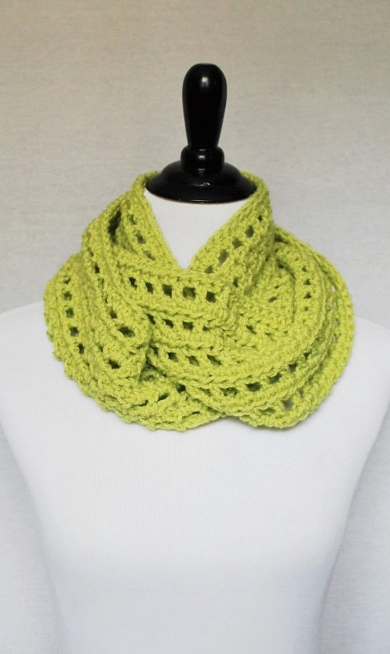Green Yellow Infinity Scarf, Lacy Crochet Cowl, Chartreuse Neck Warmer, Wrap Scarf - Lime Green, Apple Green