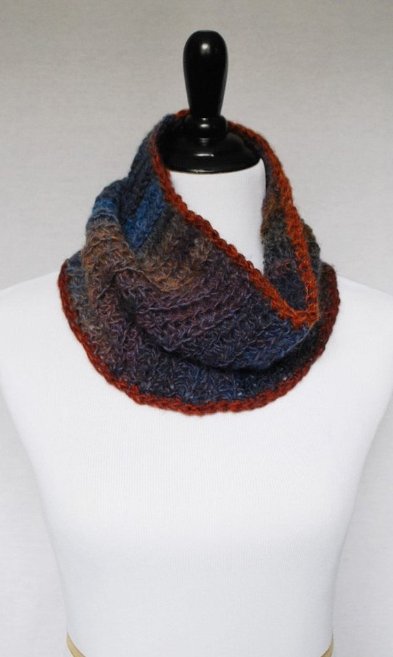 Brown, Blue Crochet Cowl, Crochet Neck Warmer, Short Infinity Scarf - Rust, Brown, Sky Blue, Dark Blue