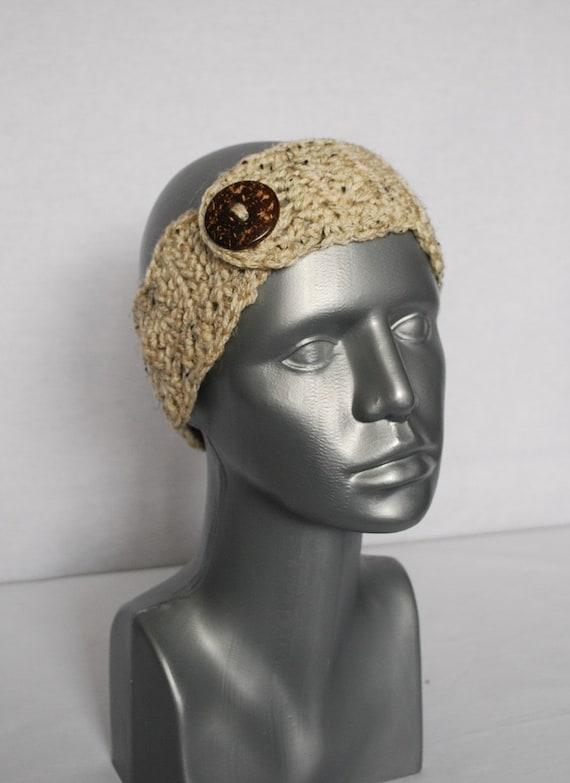 Beige Tweed Crochet Headband with Button, Scalloped Edge Ear Warmer, Head Wrap, Winter Headband - Taupe, Oatmeal Brown Heather