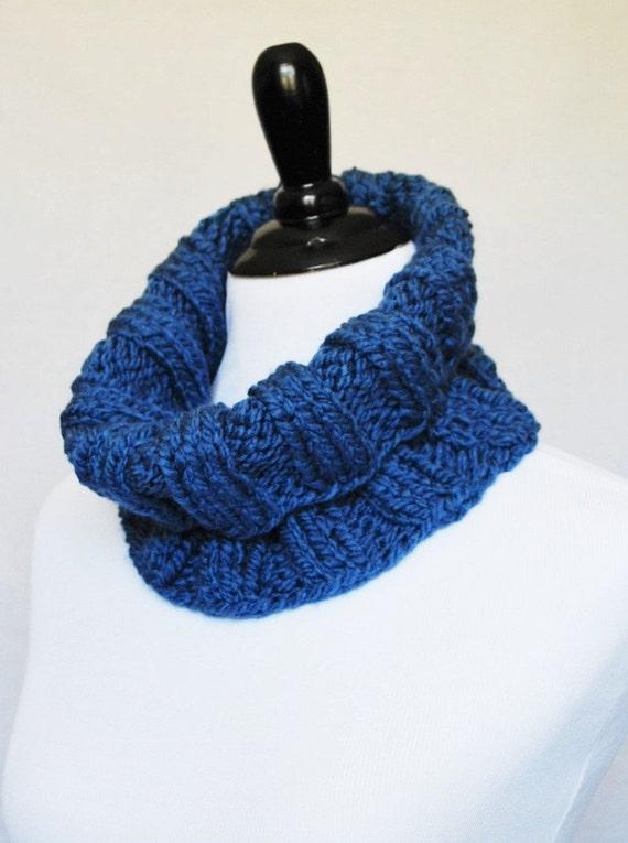 Blue Knit Cowl, Ribbed Neck Warmer, Short Infinity, Turtleneck Collar Scarf - Wide, Ribbed Knit, Denim Blue
