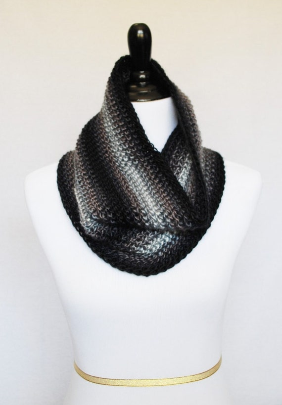 Black, Grey and White Crochet Scarf, Black Crochet Cowl, Gray Striped Neck Warmer, Soft Infinity Scarf