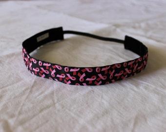 Breast Cancer Non Slip Headband ~ Black and Pink