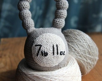 """Personalized custom weight organic """"WOD Up?"""" baby kettle bell. CrossFit baby toy. Crochet rattle. Teething toy. Sensory toy. Organic toy."""