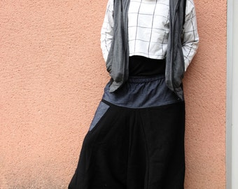 BLACK Harem Pant in Jean and Wool - Winter - Boho - Ethnic - Hippie - Alternative - Baggy - Unique - Design