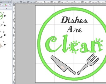"4"" x 4"" Dishes Are Clean / Dirty Embroidery Patterns 4 Formats - PES"