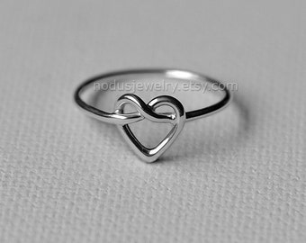 Heart knot ring, sterling silver ring, infinity heart ring, love knot ring, infinity ring, heart ring, Celtic heart knot ring, knot jewelry