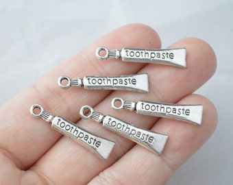 8 Pcs Toothpaste Charms Antique Silver Tone 2 Sided 29x7mm - YD0333