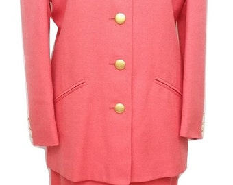 Vintage Skirt Suit by Viyella in Coral Pink Size 10 - Excellent Condition - Free Postage