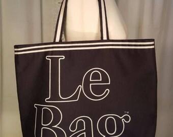 Vintage 1970's Canvas Le Bag Tote - Oversized Reusabale Shopping Bag, Black Tote Bag