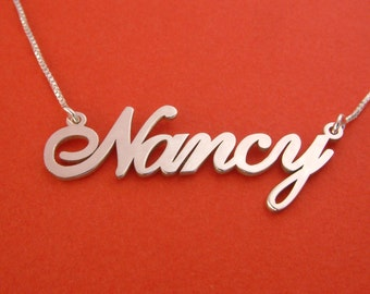 Silver name necklace etsy negle Choice Image