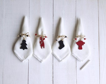 CHRISTMAS, Holiday napkin rings, Christmas table decor, Red&Black napkin rings, Chalkboard/Reusable, Setof4, Tree/Reindeer/Angel/Stocking
