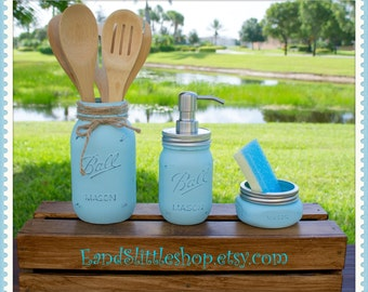 Mason Jar Kitchen Set of 3-Blue-RustProof Soap Pump & Lid-Rustic-Housewarming gifts-Wedding Gift-Vintage Decor-Shabby Chic-Country Decor