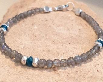 Gray bracelet, blue bracelet, labradorite bracelet, gemstone bracelet, apatite bead bracelet, Hill Tribe silver bracelet, boho bracelet