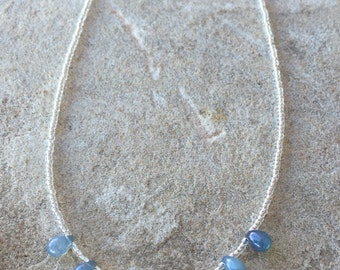 Blue necklace, teardrop Czech glass bead necklace, Czech glass seed bead necklace, layering necklace, statement necklace, gift for her
