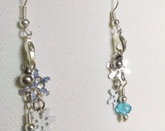 White & Silver Snowflake Earrings - Handmade