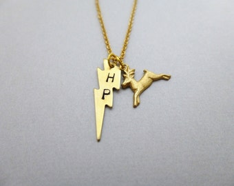 Always Necklace Harry Potter Jewelry Gold Stag Deer Patronus Charm Lightning Bolt Pendant Book Lover Hogwarts Severus Snape Accessories Gift