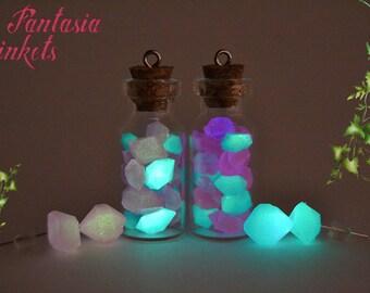 Glow in the Dark Moon Rocks Bottle Pendant and Earrings Set - Fantasy Jewelry