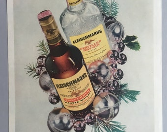 1958 Fleischmann's Preferred Whiskey and Dry Gin Print Ad - Christmas Ad