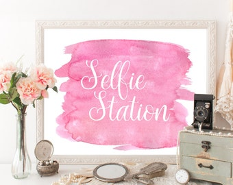 Selfie station sign Pink Selfie station props Selfie props Selfie booth Romantic Spring wedding decor Party ideas Party props Party decor