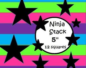 "Ninja Stack ~ 5"" squares (12 total squares)"