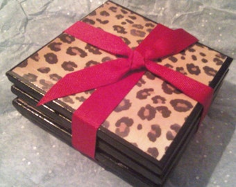 Leopard print coasters