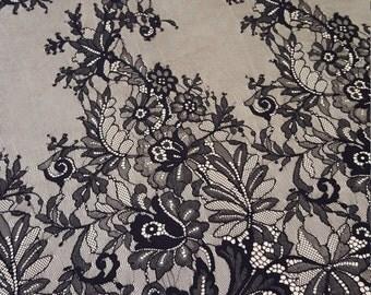 Black chantilly Lace fabric, Wedding lace, black chantilly lace fabric, flower pattern, french  M000063