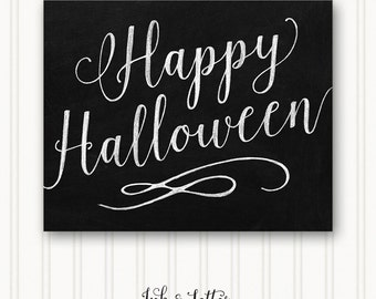 Halloween Art Print - Happy Halloween Sign - Halloween Wall Decor - Halloween Printable - Halloween Chalkboard - 8x10 - Instant Download