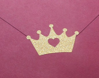 40 Gold Glitter Crown stickers with heart, gold crown stickers, princess party invitation, gold envelope seal, princess baby shower